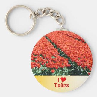 Campo de tulipanes llavero redondo tipo pin
