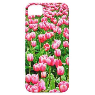 Campo de tulipanes rosados funda para iPhone SE/5/5s