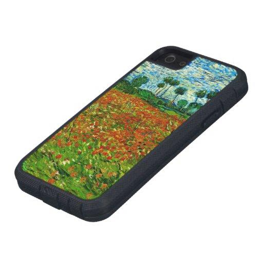 Campo de Van Gogh con bella arte de las amapolas ( iPhone 5 Cobertura