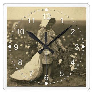 Campo del algodón reloj cuadrado