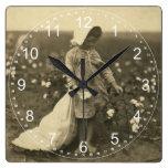 Campo del algodón reloj de pared