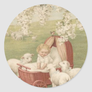 Campo del árbol de Dogwood del cordero del bebé Pegatina Redonda