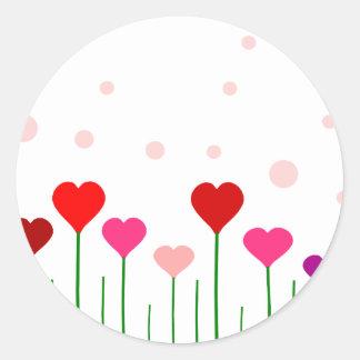 Campo del corazón del amor pegatina redonda