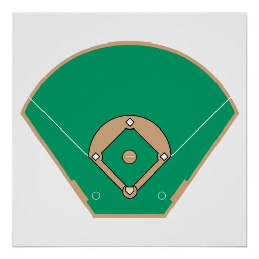 campo del diamante de béisbol poster