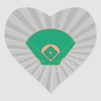 campo del diamante de béisbol pegatina en forma de corazón