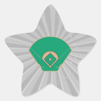 campo del diamante de béisbol pegatina en forma de estrella