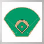 campo del diamante de béisbol póster