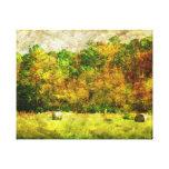 Campo del heno impresión de lienzo