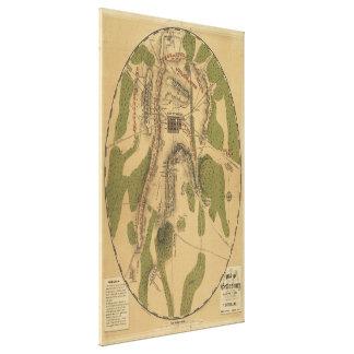 Campo del mapa de Gettysburg 1863 de T. Ditterline Impresión En Lona Estirada