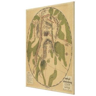 Campo del mapa de Gettysburg 1863 de T Ditterline Impresiones En Lona