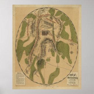Campo del mapa de Gettysburg 1863 de T. Ditterline Poster