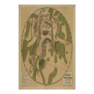 Campo del mapa de Gettysburg 1863 de T. Ditterline Posters