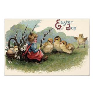 Campo del niño del lirio del huevo de la cesta del impresión fotográfica