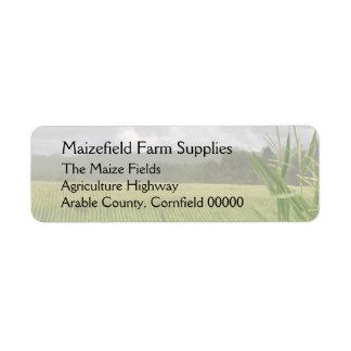 Campo del paisaje del maíz etiquetas de remite