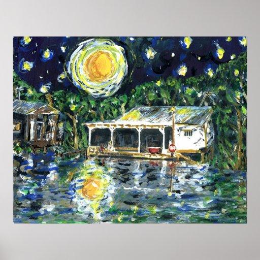 Campo del río de la noche estrellada impresiones