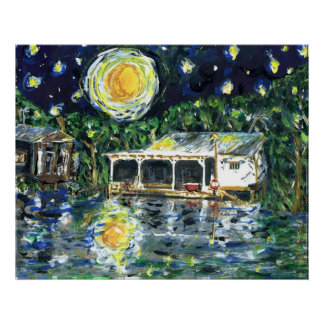 Campo del río de la noche estrellada póster