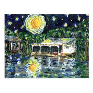 Campo del río de la noche estrellada postal