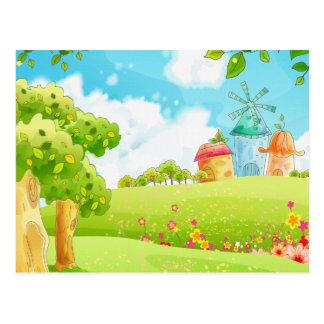 campo del verde tarjetas postales