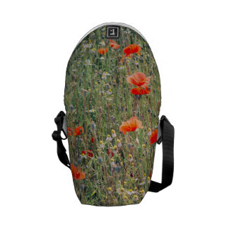 Campo del Wildflower y floración roja de las Bolsa De Mensajería