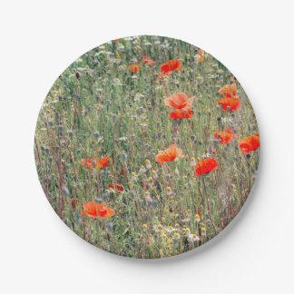 Campo del Wildflower y floración roja de las Plato De Papel De 7 Pulgadas