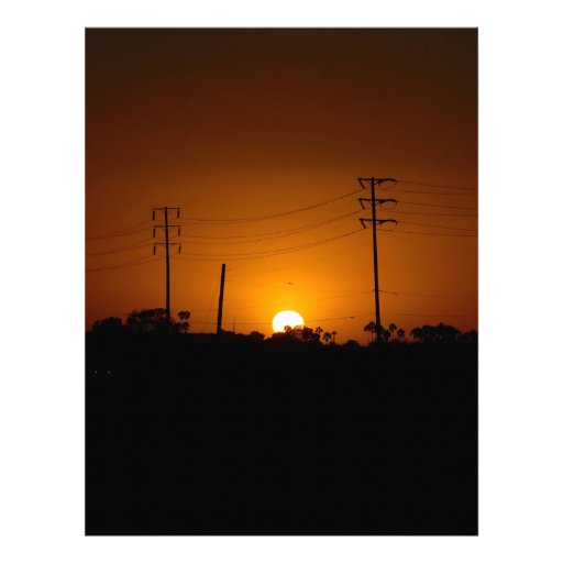 Campo eléctrico de la puesta del sol de la natural membrete