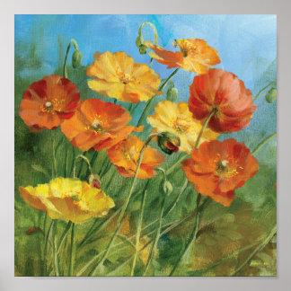 Campo floral del verano póster