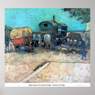 Campo gitano con el carro del caballo - Vincent va Póster