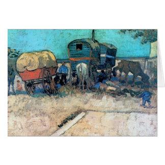 Campo gitano con el carro del caballo - Vincent va Tarjeta Pequeña