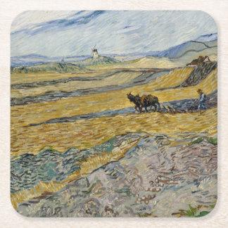 Campo incluido con el labrador de Vincent van Gogh Posavasos De Cartón Cuadrado