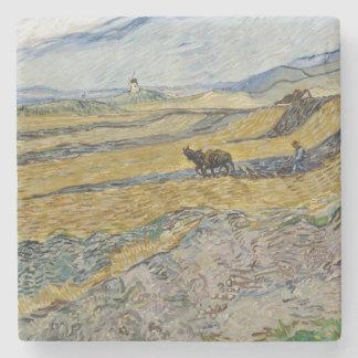 Campo incluido con el labrador de Vincent van Gogh Posavasos De Piedra