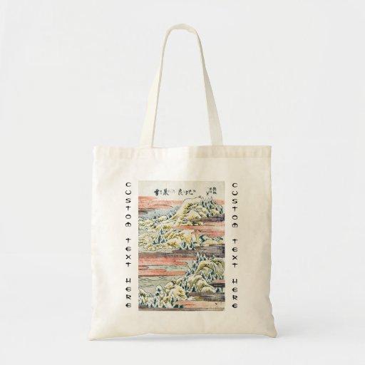 Campo japonés fresco de la montaña del ukiyo-e del bolsas de mano