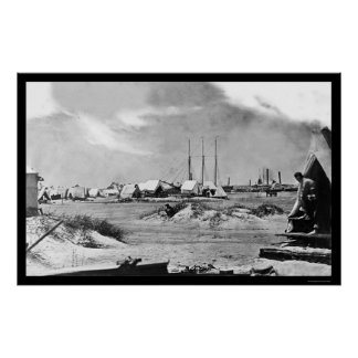 Campo militar en la isla de Morris SC 1863 Posters
