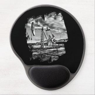 Campo petrolífero blanco y negro Pumpjack Mousepad Alfombrilla De Ratón Con Gel