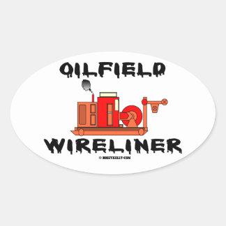 Campo petrolífero Wireliner, cable metálico, Pegatina Ovalada