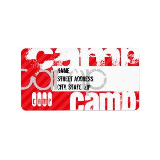 Campo; Rayas del rojo del escarlata Etiqueta De Dirección