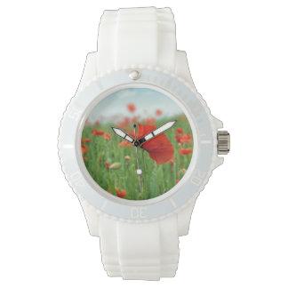 Campo rojo de las amapolas relojes