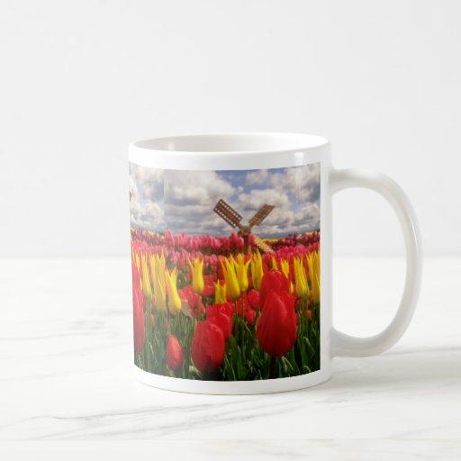 Campo rojo del tulipán, flores de Oregon Tazas De Café