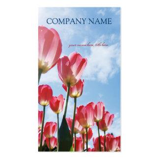Campo rosado de los tulipanes - tarjeta de visita