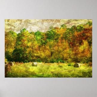 Campo rural del heno del otoño posters