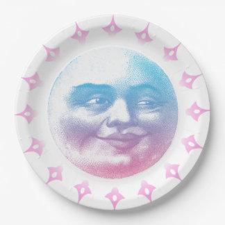 Campo sonriente del festival de luna del vintage plato de papel de 9 pulgadas