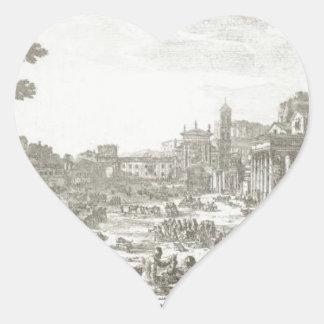Campo Vaccino (Forum Romanum) by Claude Lorrain Heart Sticker