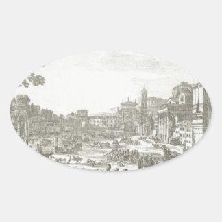 Campo Vaccino (Forum Romanum) by Claude Lorrain Oval Sticker
