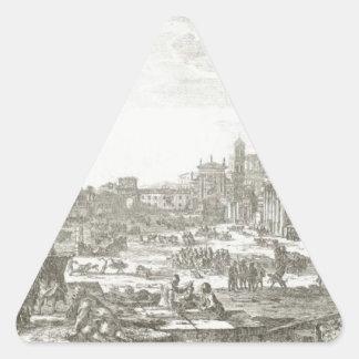 Campo Vaccino (Forum Romanum) by Claude Lorrain Triangle Sticker