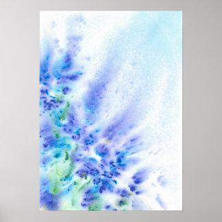 Campo violeta azul de la acuarela abstracta de las póster