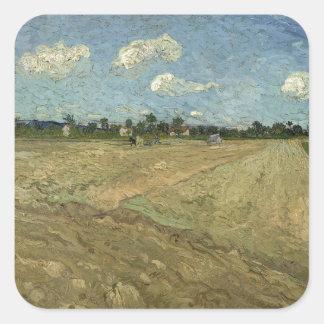 Campos arados (los surcos) por Van Gogh Pegatina Cuadrada
