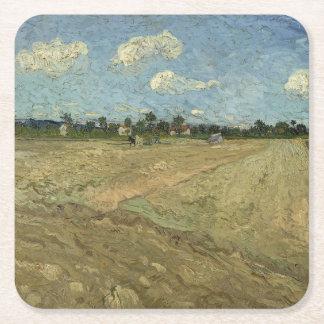 Campos arados (los surcos) por Van Gogh Posavasos Desechable Cuadrado