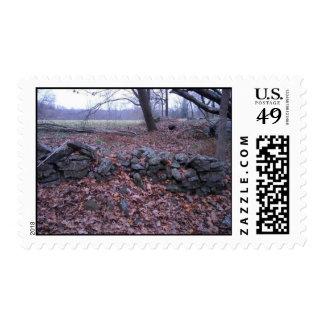 Campos de batalla en caída timbre postal