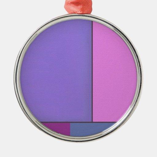 Campos de color geométricos modernos del arte adorno navideño redondo de metal