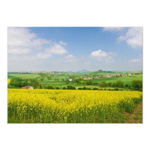 Campos de flor amarillos que pasan por alto a invitación 12,7 x 17,8 cm