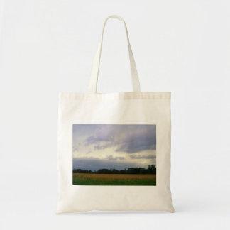 Campos de granja inminentes tempestuosos del mún bolsa tela barata